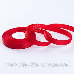 Репсовая лента шириной 12 мм красного цвета, бобина 18 метров