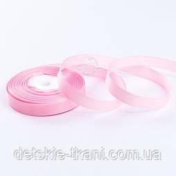Репсовая лента шириной 12 мм розового цвета, бобина 18 метров