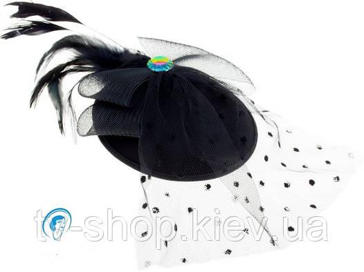 Шляпка с вуалью Бант со стразом (красная,черная,коричневая,фиолетовая)