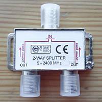 Сплиттер (Splitter) ТВ, 2-way 5-2400MHZ, с проходом питания, корпус металлический, VK11029C