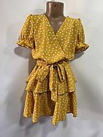 Платье детское для девочки на запах в крупный горох размер 6-10 лет, цвет уточняйте при заказе, фото 1