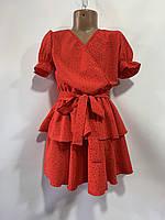 Сукня дитяче для дівчинки на запах в дрібний горох розмір 6-10 років, колір уточнюйте при замовленні, фото 1