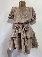 Платье детское для девочки на запах с поясом Горох размер 6-12 лет, цвет уточняйте при заказе, фото 1