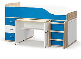 Кровать Горка односпальная в детскую комнату из ДСП Лео Мебель Сервис с ламелями без ламелей