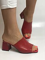 Зручні! Жіночі сабо шльопанці на невисокому каблуці. Натуральна шкіра. Червоний. Туреччина. Ripka 36. 37. 38.39.40, фото 2