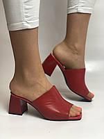 Зручні! Жіночі сабо шльопанці на невисокому каблуці. Натуральна шкіра. Червоний. Туреччина. Ripka 36. 37. 38.39.40, фото 3