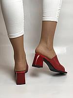 Зручні! Жіночі сабо шльопанці на невисокому каблуці. Натуральна шкіра. Червоний. Туреччина. Ripka 36. 37. 38.39.40, фото 6