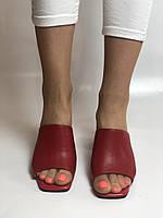 Зручні! Жіночі сабо шльопанці на невисокому каблуці. Натуральна шкіра. Червоний. Туреччина. Ripka 36. 37. 38.39.40, фото 9