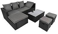 Комплект плетеной мебели из ротанга в сад di volio bologna черно-серый