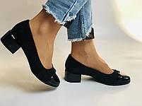 Жіночі модельні туфлі-човники високої якості.Polann Натуральна замша. Чорний Супер комфорт. 36, 38, 40, фото 4