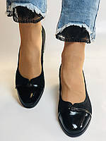 Жіночі модельні туфлі-човники високої якості.Polann Натуральна замша. Чорний Супер комфорт. 36, 38, 40, фото 3