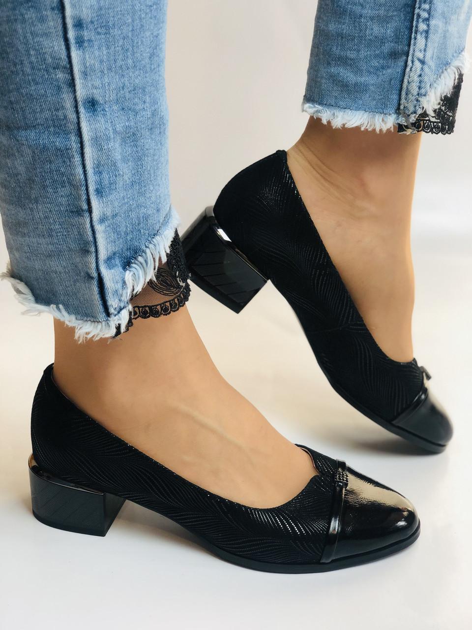 Жіночі модельні туфлі-човники високої якості.Polann Натуральна замша. Чорний Супер комфорт. 36, 38, 40