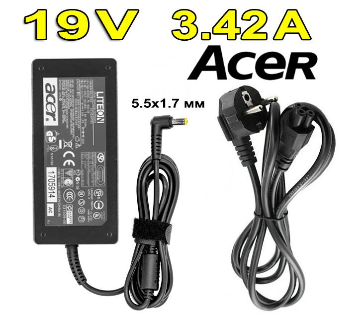 Зарядний пристрій Acer Aspire V3-771G 19V 3,42A 65W штекер 5,5 * 1,7 мм Блок живлення