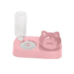 Миска для котів з поїлкою Taotaopets 119906 Pink 22*28,2*14,5 см подвійна