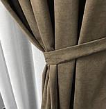 Комплект штор на люверсах з тюлем на люверсах Шторы 200х270 + тюль 500х270 Шторы с подхватами Цвет Кофейный, фото 4