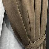 Комплект штор на люверсах з тюлем на люверсах Шторы 200х270 + тюль 500х270 Шторы с подхватами Цвет Кофейный, фото 5