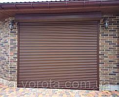 Роллетные гаражные автоматические ворота из алюминиевого профиля RH58N Doorhan ш3000 в2100(RAL8014 коричневый)