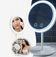 Настольное косметическое зеркало NuBrilliance Beauty Breeze Mirror с подсветкой и вентилятором, фото 3
