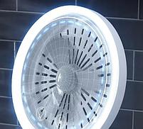 Настольное косметическое зеркало NuBrilliance Beauty Breeze Mirror с подсветкой и вентилятором, фото 5