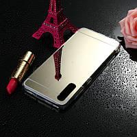 Чехол Fiji Mirror для Honor 9X Pro China силикон зеркальный бампер золотой