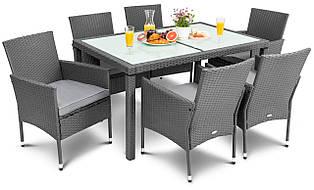Мебель плетеная для сада из ротанга di volio verona (6 кресел и стол) серая