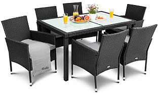 Мебель садовая плетеная из ротанга di volio verona (6 кресел и стол) черная