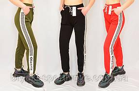 Брюки спортивные женские под манжет  с широкой лампасой –  дайвинг  Kenalin 2XL - 6XL