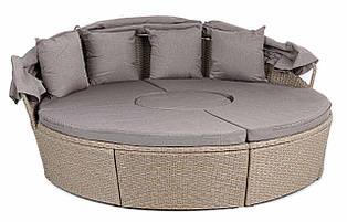 Комплект плетеной садовой мебели из ротанга di volio milano бежево-серый