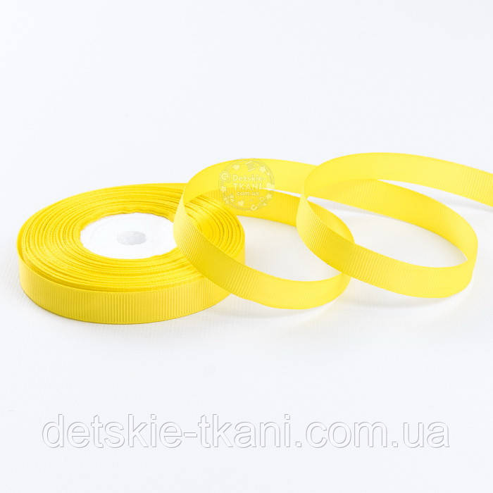 Стрічка репсова шириною 12 мм жовтого кольору, бобіна 18 метрів