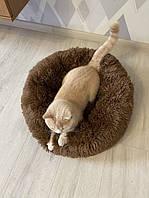 Лежак для кошек и собак, лежанка-подушка, кровать L 60 см до 9 кг коричневый цвет