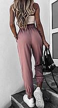 Джоггеры женские на резинке спортивные завышенная талия повседневные, фото 3