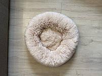 Лежак для кошек и собак, лежанка-подушка, кровать M 50 см до 4 кг светло-бежевый цвет, фото 7