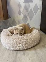 Лежак для кошек и собак, лежанка-подушка, кровать M 50 см до 4 кг светло-бежевый цвет, фото 8