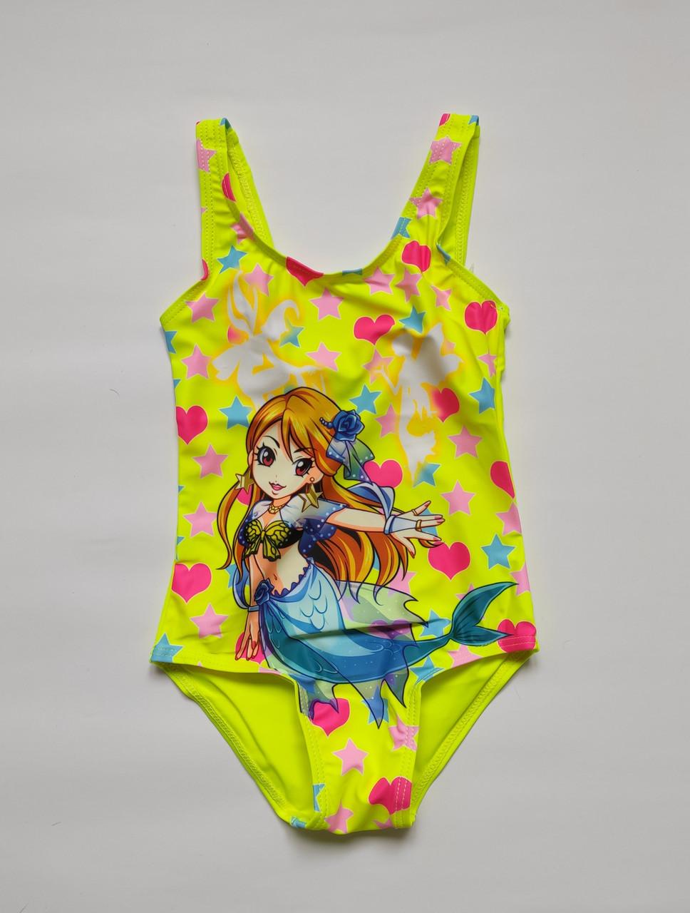 Совместный детский купальник для девочки Лимонный рост от 98 до 136 см
