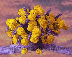 Картина по номерам 40*50 см Букет желтых хризантем