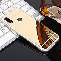 Чехол Fiji Mirror для Honor 9X силикон зеркальный бампер золотой