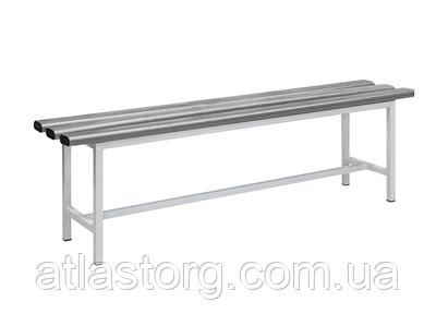 Лавка металева в роздягальню приставна З-1000П 1000х330хН450 з пластиковими сидіннями