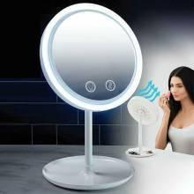 Круглое настольное зеркало с подсветкой и вентилятором Beauty Breeze Mirror.