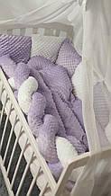 Комплект сменного постельного белья Минки.Защита-подушки 6 шт., коса одеяло, простынь на резинке. Разные цвета