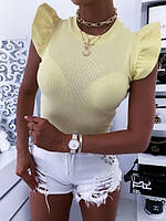 Жіноча стильна футболка з коротким рукавом рюшами, фото 1
