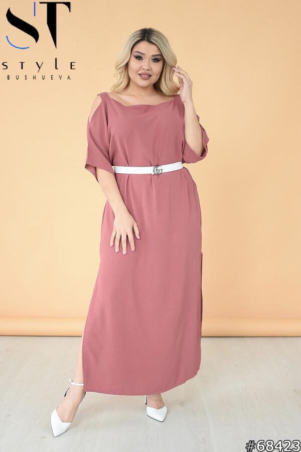 Однотонне літнє довга сукня з розрізами + пояс фрезовий, Ролекс жатка (60% льон + 40% поліестерн) | р-р