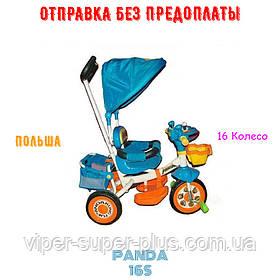 Велосипед дитячий триколісний з ручкою Panda Синій! Польща!