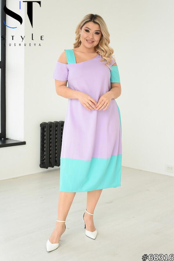 Двокольорове літнє плаття з льону, Бузок-М'ята, Льон, р. 48-50,52-54