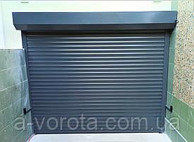 Роллетные гаражные автоматические ворота из алюминиевого профиля Alutech PD77 ш2500 в2000(RAL7016 графит)