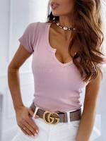 Жіноча стильна трикотажна футболка з ажурним вирізом, фото 1