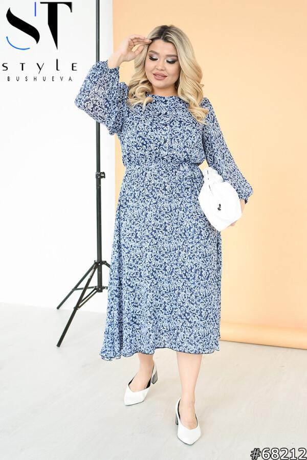 Легкое шифоновое платье миди с отрезной талией длинны рукав синее, Шифон| р-р 50-52,54-56,58-60