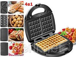 Гриль, вафельниця, бутербродниця, горішниця Crownberg CB 1074 Мультимейкер 4 в 1