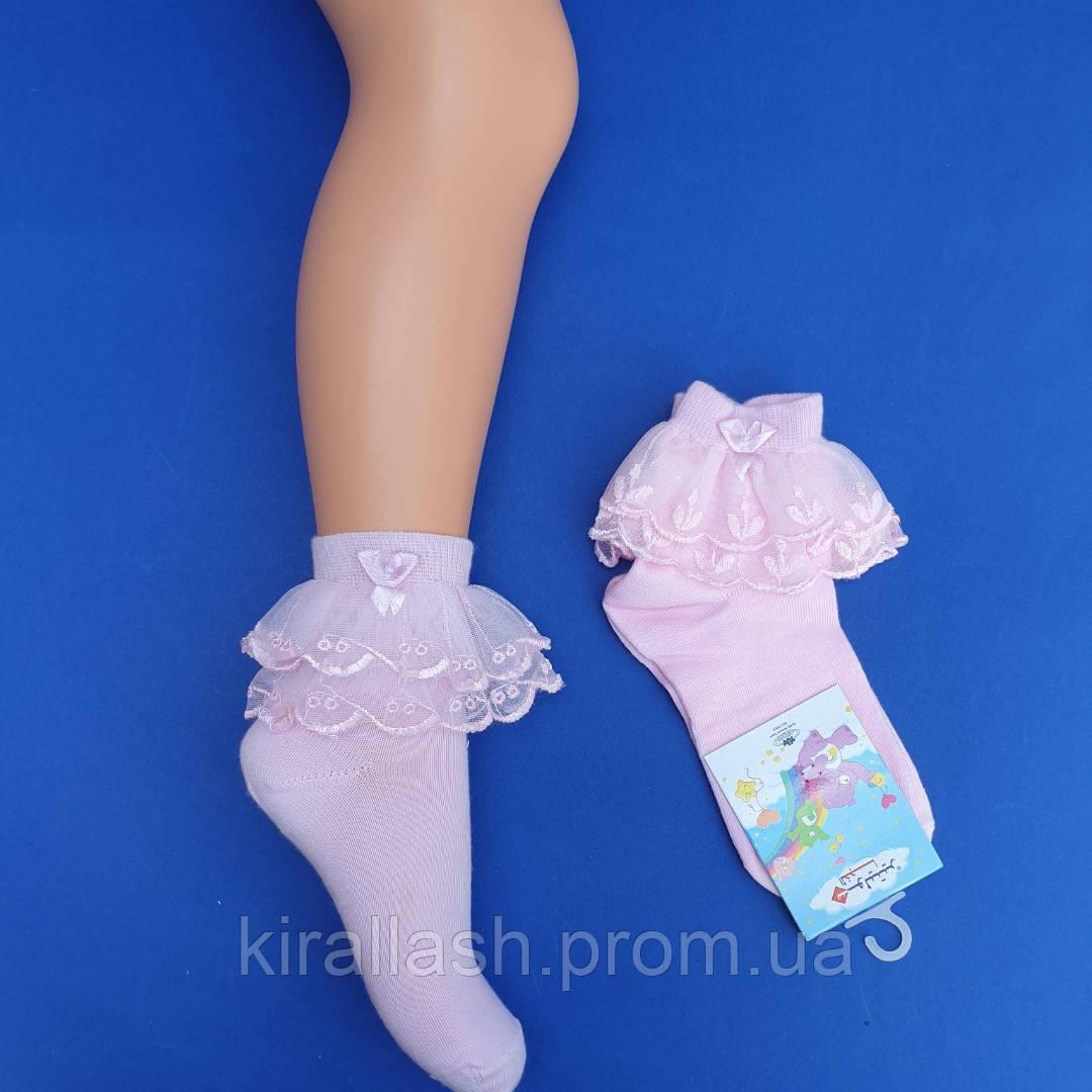Шкарпетки (2 роки) РОЖЕВІ З РЮШЕМ для дівчаток