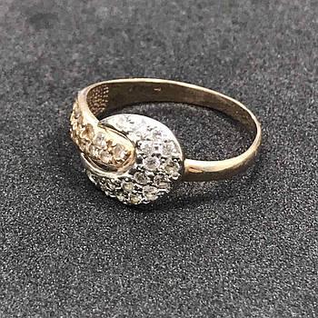 Золотое кольцо 585 пробы Б/У с фианитами, вес 2,57 г