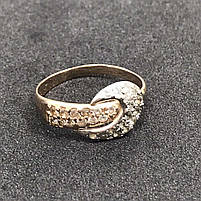 Золотое кольцо 585 пробы Б/У с фианитами, вес 2,57 г, фото 2